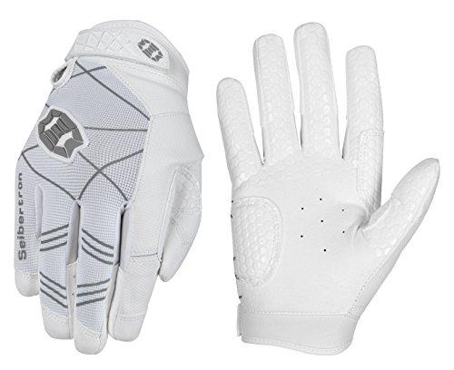 Seibertron B-A-R PRO 2.0 Signature Baseball/Softball Schlagmann Batting Handschuhe Gloves Super Grip Finger Fit for Erwachsener Weiß M -
