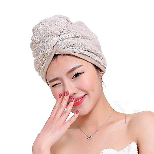 LvLoFit Anti-krauses Schnelltrocknendes Haar Handtücher Baumwolle Mikrofaser Hair Turban Lange Haartrockentuch mit Knopf für Damne (khaki) (Handtuch Wickeln Damen)