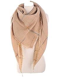 11b8367cb531 Femme Fille Unie Tartan carreaux plaid Ligne Colorée extra large Triangle  Écharpe Wrap Frange