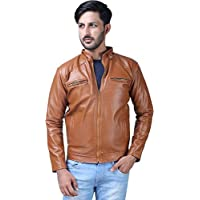 Life Trading Faux Leather Jacket for Men and Boys(Beige)
