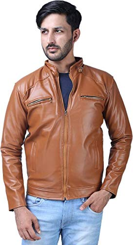 Life Trading Fashionable Faux Leather Jacket for Men and Boys(Brown) (Large)