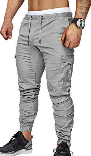 7e980c24115ff9 SANMIO Men's Casual Trousers, Mens Pants with Multi-Pocket Slim Sports Jeans  for Autumn