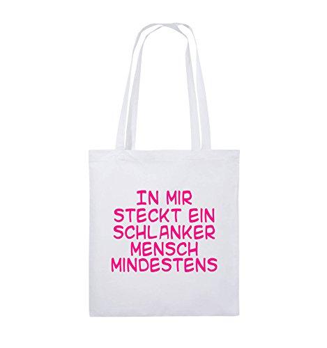 Comedy Bags - In mir steckt ein schlanker Mensch mindestens - Jutebeutel - lange Henkel - 38x42cm - Farbe: Schwarz / Silber Weiss / Pink