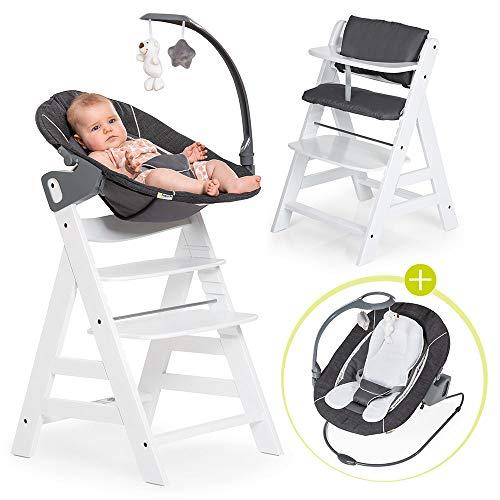 Hauck Alpha Plus Weiß Newborn Set Deluxe - Baby Holz Hochstuhl ab Geburt mit Liegefunktion - inkl. Aufsatz für Neugeborene & Sitzpolster - mitwachsend, verstellbar