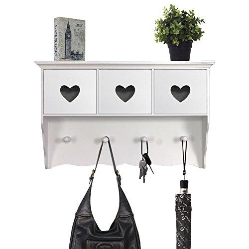 Schicke Wandgarderobe Garderobenpaneel Flurgarderobe aus Holz, 47x13xH29cm, für Hausflur Diele, weiß/matt, 3 Schubfächer mit Herzausschnitt
