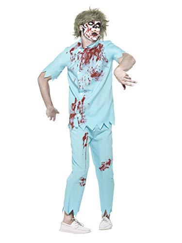 Smiffys 45567L - Herren Zombie Zahnarzt Kostüm, Oberteil, Hose, Gesichtsmaske und Latex Zähne, Größe: L, blau