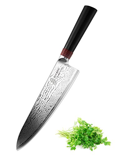 Tuo Cutlery Ring Series, Japanese 67 layers VG-10 Damascus Steel Cuchillo de Cocinero 20.32cm