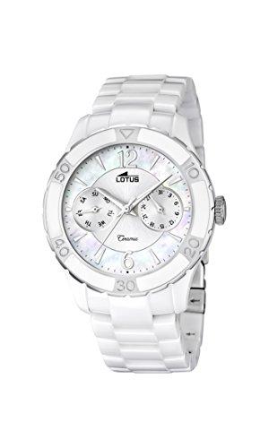 Lotus Reloj de Cuarzo para Mujer con Color Blanco Esfera analógica Pantalla y Pulsera de cerámica Blancos 15930/1