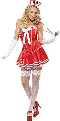 Smiffys, Fever, Damen Sexy Krankenschwester Kostüm, Verstärktes Korsett und Tutu-Rock, Größe: M, (Krankenschwestern Sexy Outfit)