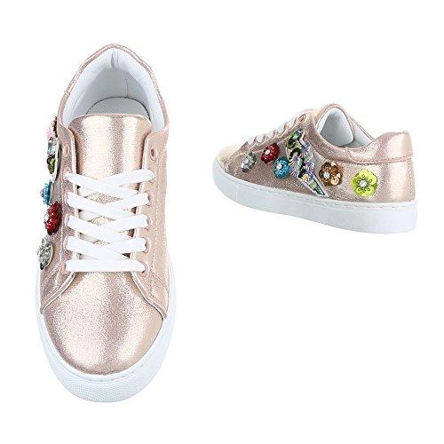 Low-Top Sneaker Damenschuhe Low-Top Sneakers Schnürsenkel Ital-Design Freizeitschuhe Rosa Gold FC-S29