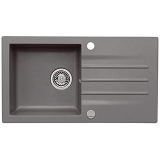 AXIS KITCHEN Mojito 40 Küchenspüle Farbe Axis Moonlight Grey Grau Material Axigranit 50er Unterschrank Spülbecken Siphon, Exzenterbedienung
