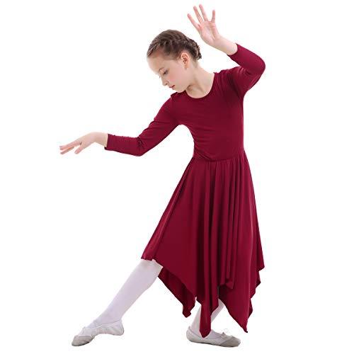IWEMEK Mädchen Liturgischen Lob Tanzkleid mit Langarm Partykleid Ballettkleid Volltonfarbe Gebet Kleid Falten Maxikleid Kirche Anbetung Asymmetrische Dancewear Kostüm Weinrot 3-4 Jahre