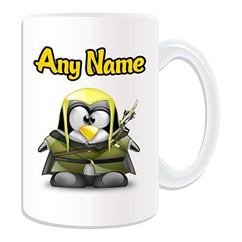 Personalisiertes Geschenk, großer Legolas Tasse (Pinguin Film Charakter Design Thema, weiß)–Jeder Name/Nachricht auf Ihre Einzigartiges–Kostüm Film Superheld Held der Hobbit Herr Der Ringe Sindar Elf Woodland Realm Gefährten (Baby Legolas Kostüm)