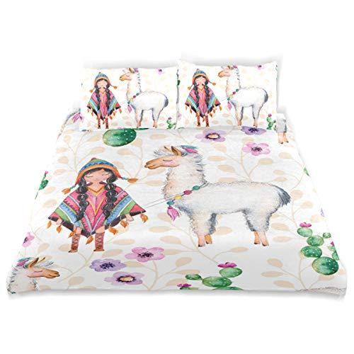 54886ae7f7 ISAOA 3D Mädchen Schaf, wendbar, Bettbezug Bettwäsche-Set mit  Kissenbezügen, Kinder-Bettwäsche-Set