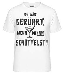 Shirtinator Ich wär gerührt geschüttelt T-Shirt Fun Shirt lustige Geschenkidee Geburtstag für Herren Witziges T-Shirt (weiß, XXL)