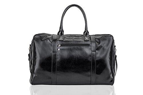 Solier Leder Herren Reisetasche Sporttasche Wochenende Schulter Premium Tasche Premium S16 (Schwarz) Schwarz