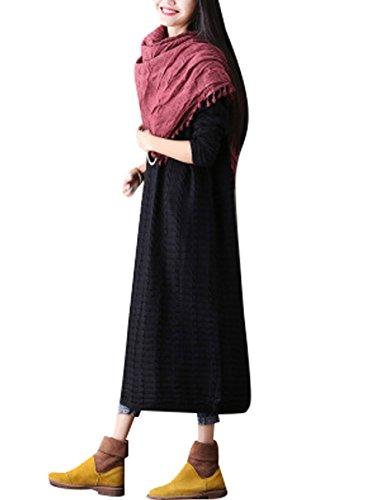 Youlee Donna Inverno Autunno Collo rotondo Maglione di lana Lungo Vestito da jumper Nero