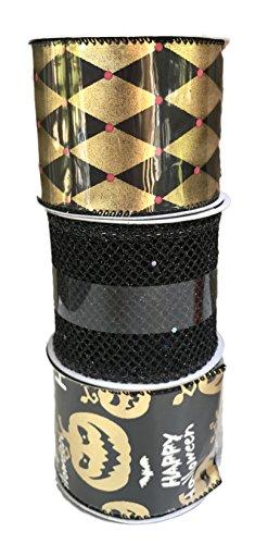 Gold und Schwarz Diamant Design Happy Halloween jack-o-lanterns und schwarz Fisch Net Bundle Of Drei Halloween themed Bänder
