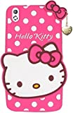 Mezmo 3D Cute Hello Kitty Silicone With Pendant Back Case Cover For HTC Desire 816