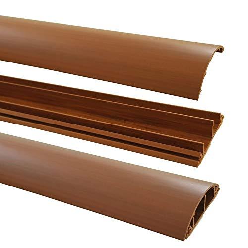 netproshop Fußboden Kabelkanal PVC (Halbrund, Selbstklebend, 70x17mm) (1 Meter), Farbe:Dunkelbraun Meliert