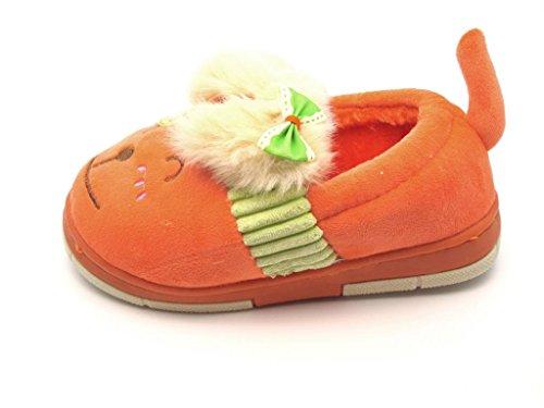 Tante Tina - Kinder Hausschuhe / Pantoffeln in Hunde Motiv Orange