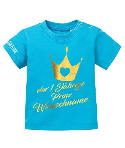 Jayess Baby Shirt Jungen zum 1 Geburtstag - der einjährige Prinz Wunschname - personalisierbar mit Kindername - in Blau Gr. 80/86 (Baby-junge-geburtstag Shirt)
