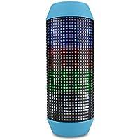 Altavoz de Bluetooth, mini radio FM portátil del subwoofer de la linterna que pulsa con la linterna (Color : Azul)