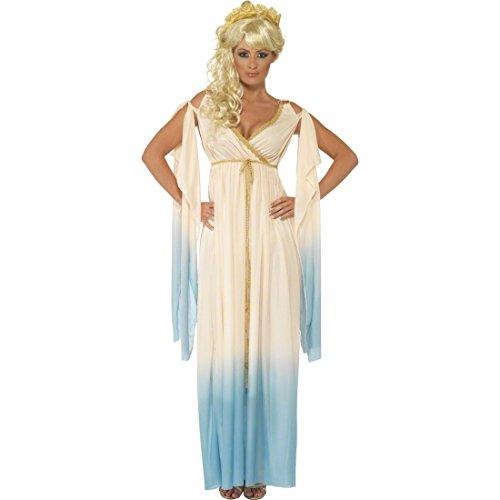 NET TOYS Antike Göttin Kostüm Prinzessinkostüm Beige blau L 44/46 Kostüm Aphrodite Damenkostüm Griechisches Gewand Prinzessin Griechin Römerin