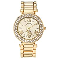 U.S. Polo Assn. Women's Quartz Watch with Alloy Strap, Gold, 16 (Model: USC40212AZ)