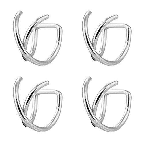 AVYRING Ear Cuff Fake Nasenpiercing Septum Piercing Fake Helix Targus Piercing Ohr Fake Nasenring Piercing Schmuck 4 Stück - Schwarz