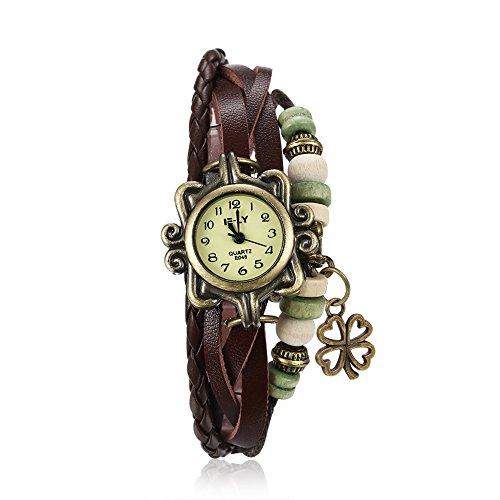 Yazilind Schmuck Mode Zubehör türkis Armband Lederband Quarz Armbanduhr (braun)