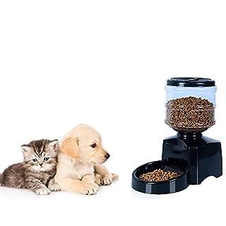 AnGeer Automatischer Futterautomat für Hunde, intelligenter Tierzufuhr-Spender 5.5L,Automatischer Futterautomat mit LCD-Display-Timer und Sprachnachrichtenaufnahme,38,5 x 38,5 x 21 cm schwarz
