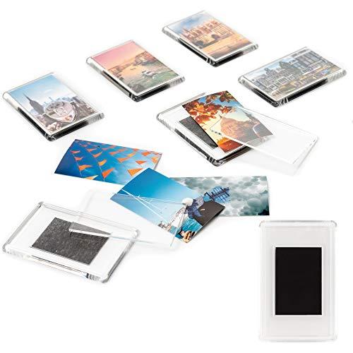 Set mit 50 klare Magnet Bilderrahmen- Geschenke für Freunde & Familie -Magnet Bilderrahmen Fotorahmen-Acryl Kühlschrank Magnetseitiger Bilderrahmen Klebt an jeder magnetischen Oberfläche -