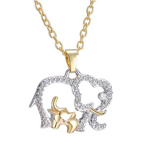 Chic Artificial Crystal Charm Mamá y Bebé Elefantes Colgante Collar de Moda...