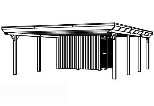 Skan Holz Carport Emsland 613 x 846 cm Leimholz mit Abstellraum