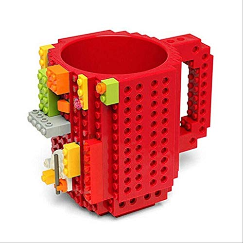 Kaffeebecher Build-on Ziegel Becher Typ Bausteine Tasse DIY Block Puzzle Becher Trinkgeschirr Trinken Becher 11 Farben rot ()