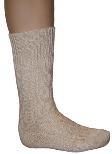 Kurze Trachtensocken lederhosen Trachtenstrümpfe Zopfmuster Socken Natur, Größe:44-46 - 4