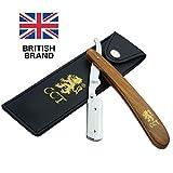 Das Cambridge Cut Throat™ Barbier-Rasiermesser zum Einklappen, Set mit Reisetasche und Tasche aus natürlicher Baumwolle, Geschenke für Männer, Pflegegeschenk