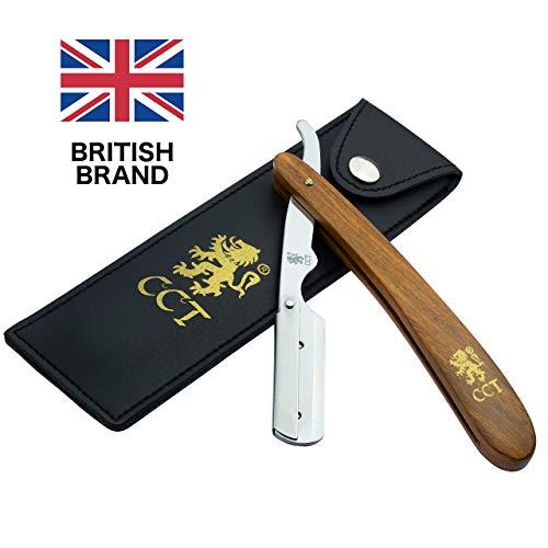 Das Cambridge Cut Throat™ Barbier-Rasiermesser zum Einklappen, Set mit Reisetasche und Tasche aus...