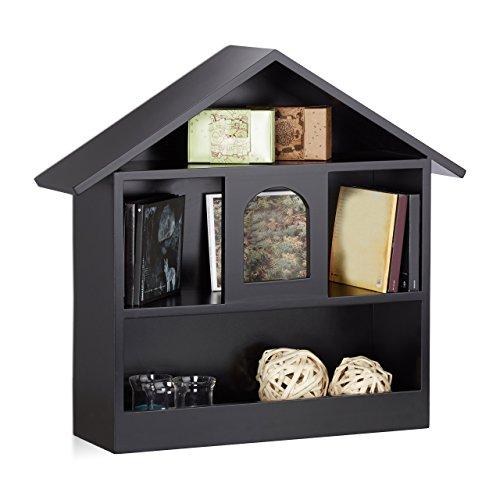 Relaxdays Wandregal Hausform m. 3 Fächer, dekorativer Setzkasten, matt lackiertes Holzhaus, HxBxT: 50x53x15 cm, schwarz