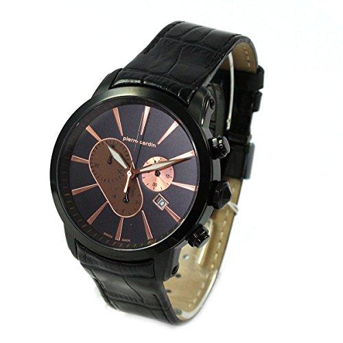 Pierre Cardin Chrono Fecha Gun Color Piel banda reloj de hombre Swiss Made pc105441s13