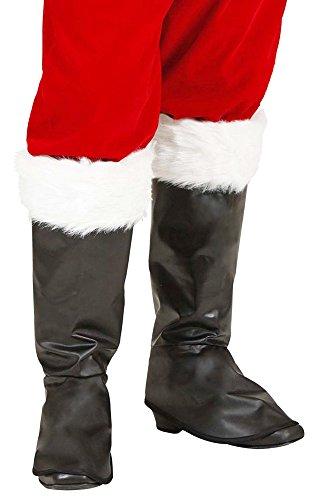 Stiefelstulpen mit Fell zum Weihnachtsmann Kostüm - Schwarz Weiß - Toll zum Nikolaus, Weihnachten oder Heiligabend Kostüm
