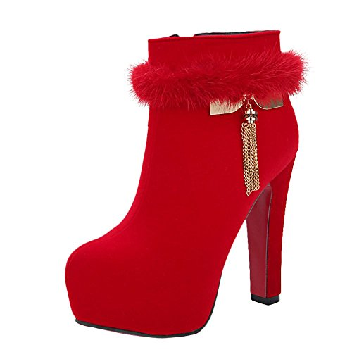 Mee Shoes Damen faux Suede high heels Plateau Stiefel Rot