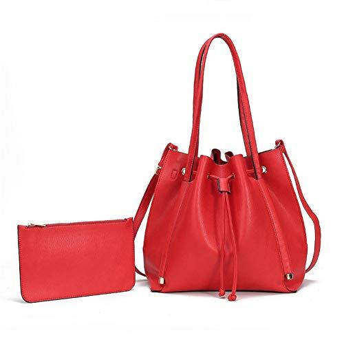 pen, Eimer Pakete Schulter Crossbody Tasche Einfach Reine Farbe Schulter Handtasche Pu Wasserdicht GroßE BröTchen Mutter Und Tochter Tasche ()