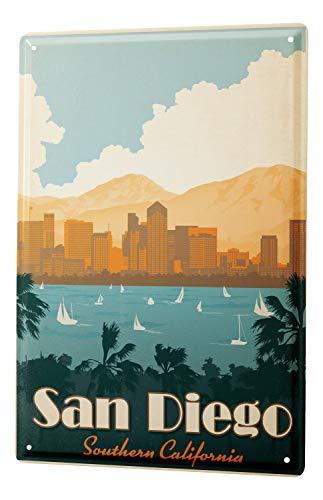 Blechschild Stadt Deko San Diego Süd Kalifornien Palmen Segelboote Skyline Metallschild 20X30 cm -