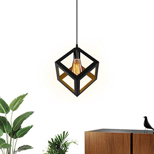 KINGSO E27 Hängelampe Schwarz Cube-Design Pendelleuchte modern Hängelampe Geometrie Design...