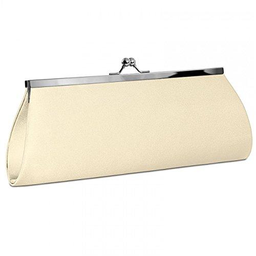 CASPAR klassische Damen Satin Clutch/Abendtasche mit elegantem Metallbügel - viele Farben - TA309, Farbe:elfenbein - Elfenbein-abend-handtasche
