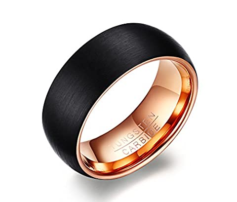 Vnox 8mm Mens Tungsten Carbide Black Wedding Band Ring Matte Finished,Rose Gold Inside,UK Size R