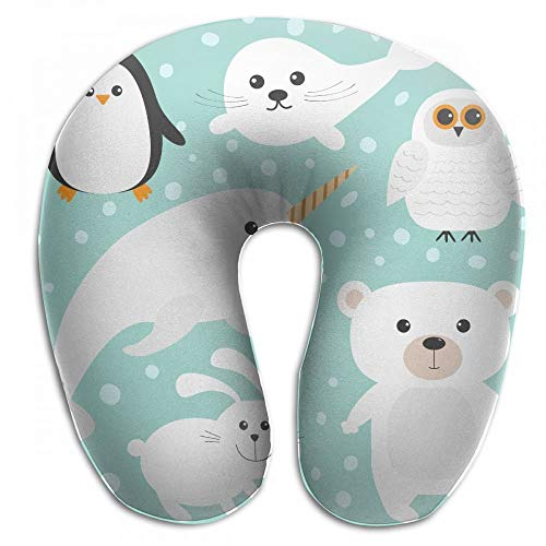 Voxpkrs Animal White Polar Bear Neck Head Support Travel Rest U Shaped ()