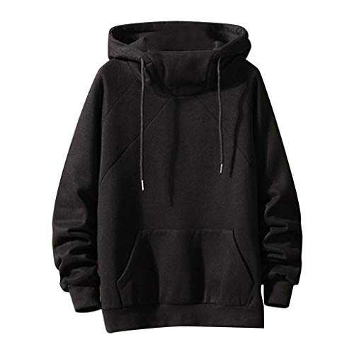 MOTOCO Herren Hoodie Sweatshirt Lässige Letter Drucken Langarm Tasche Kordelzug Pullover Hoodies Sweater(M,Schwarz-4)